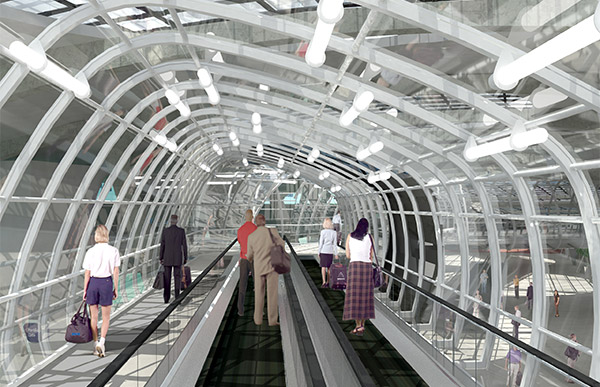 Rendering of people mover at Lisbon International Airport.