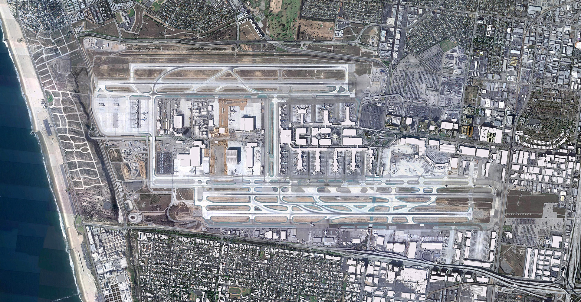 Aerial of Los Angeles World Airport.