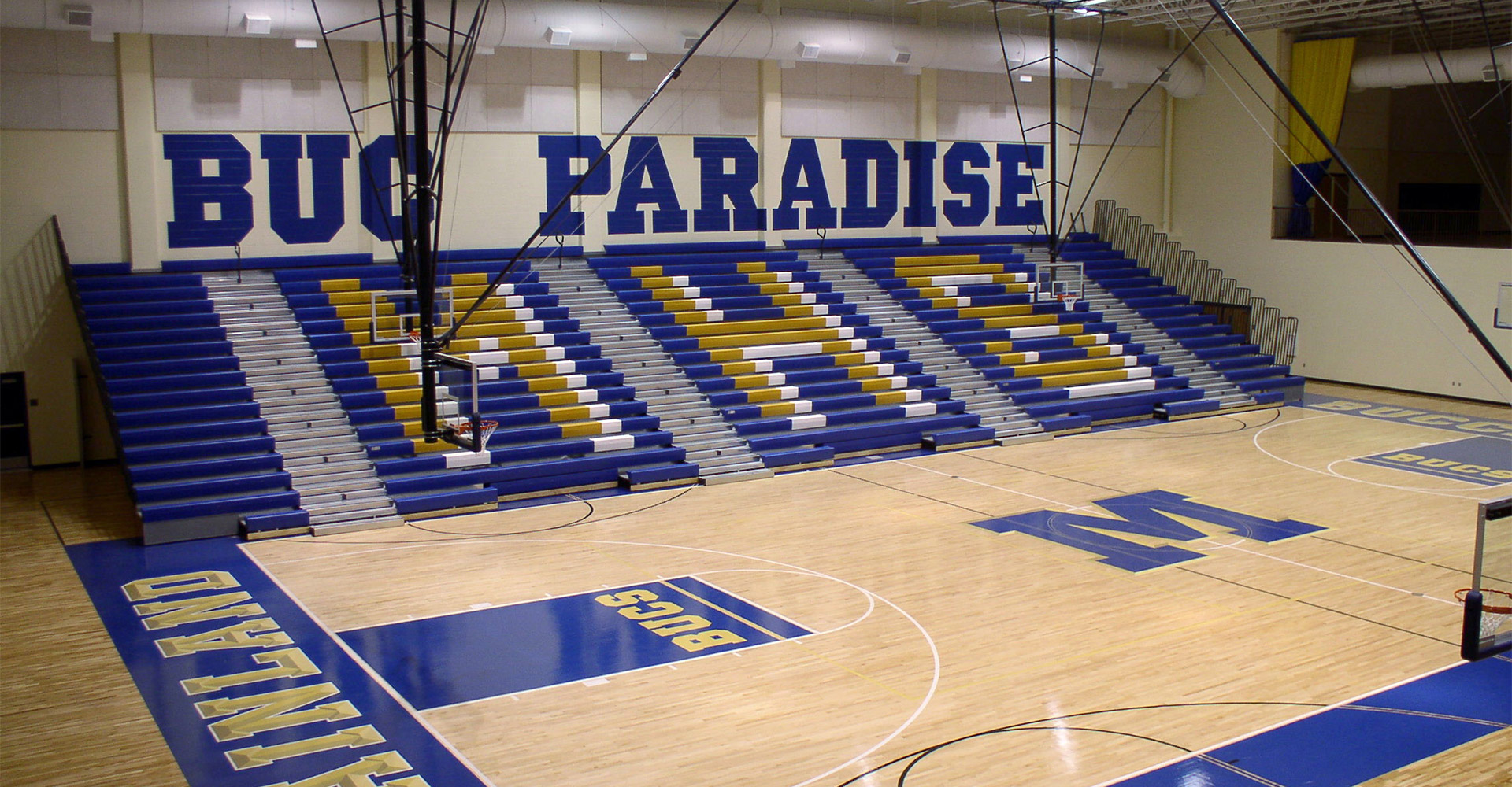 Interior of gym at Mainland High School.