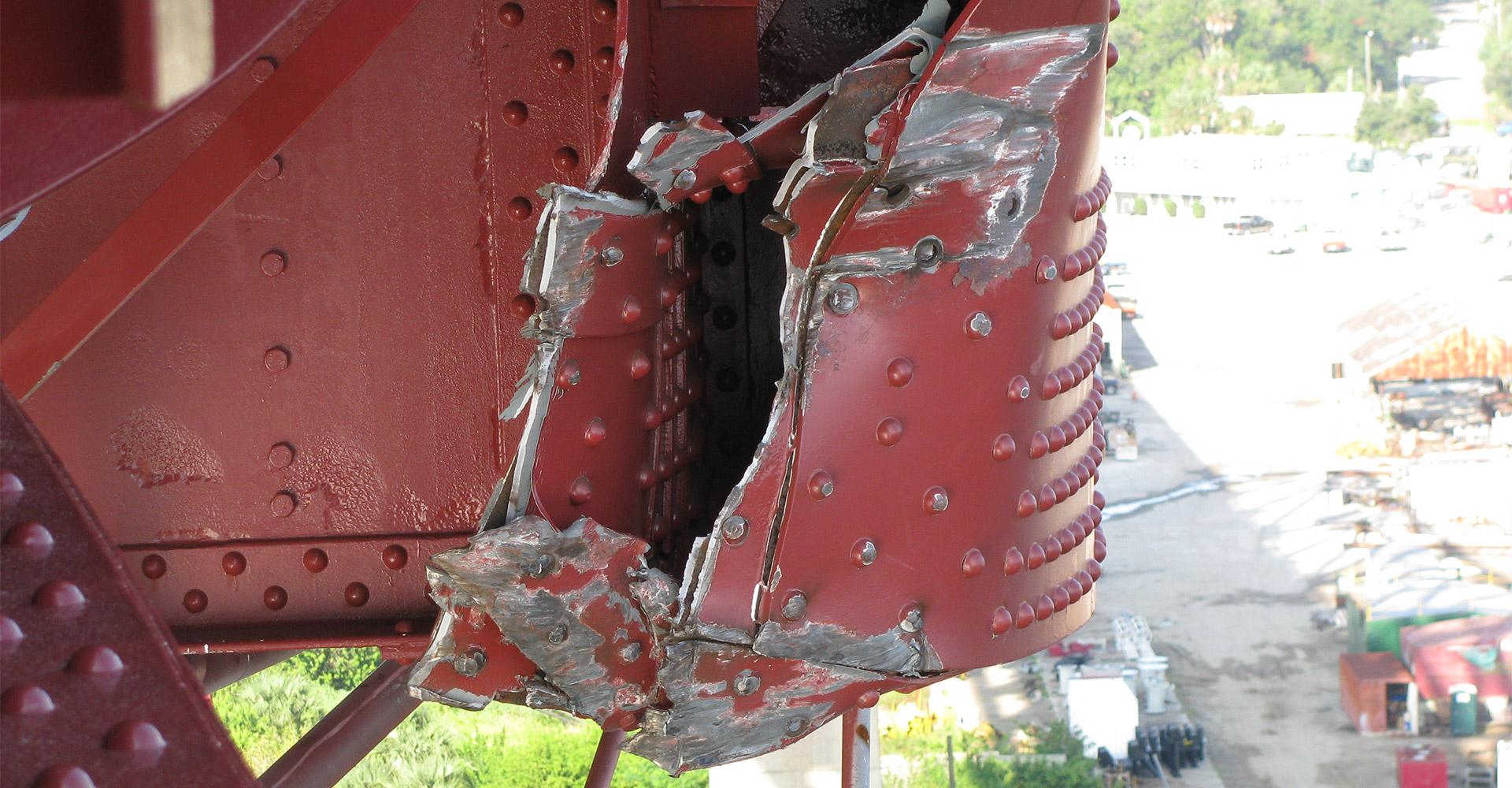 Up close view of damage to Mathews Bridge.
