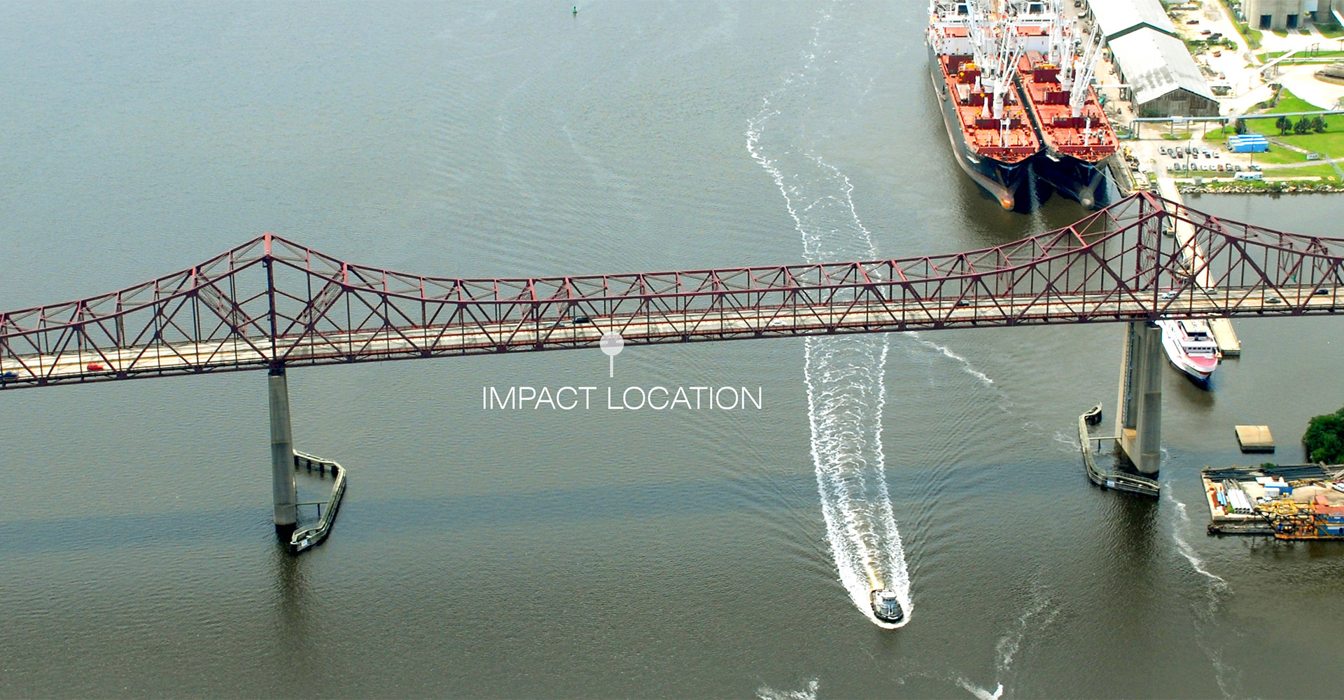 Aerial of impact location on Mathews Bridge.