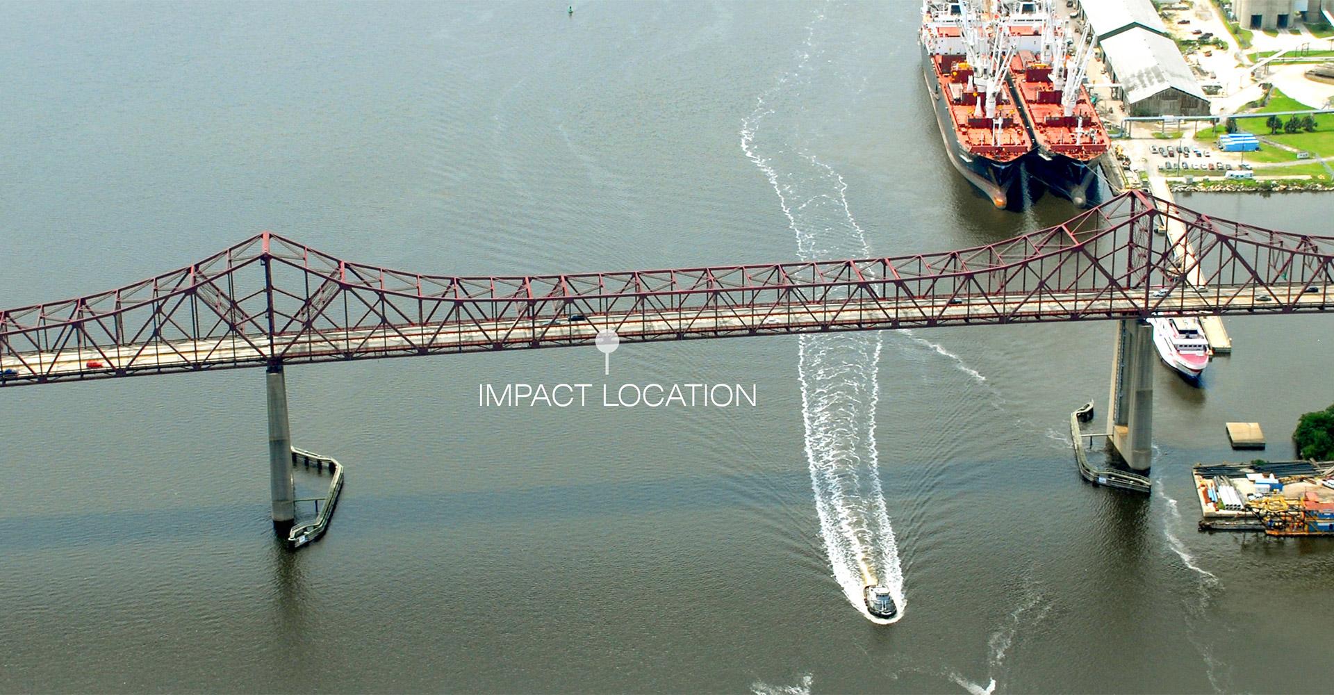 Aerial of impact location on Mathews Bridge.