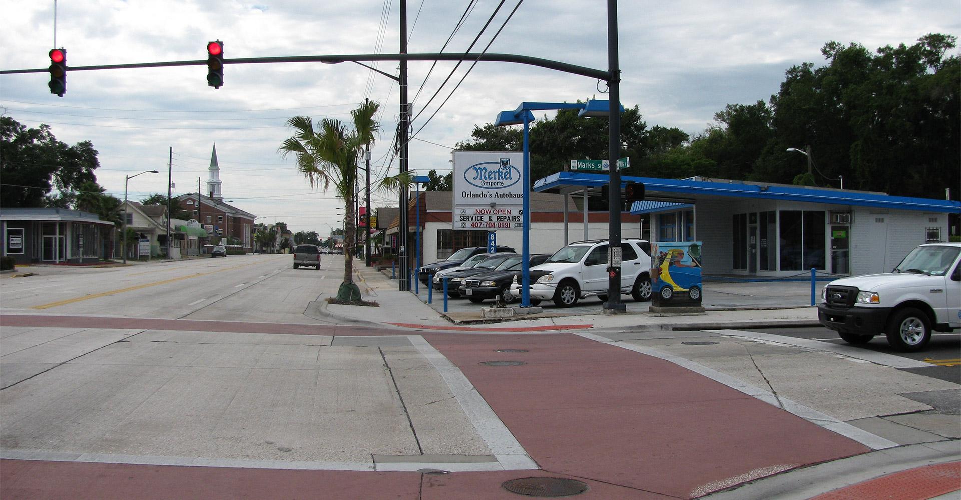 View down Mills Avenue.