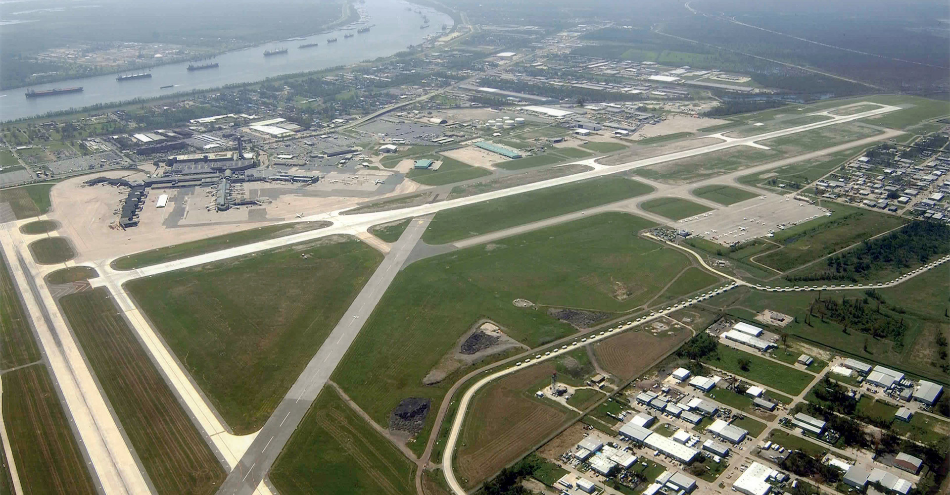 Aerial of New Orleans International Airport.