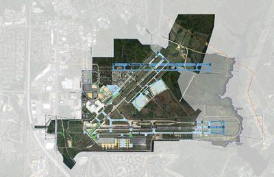 Aerial of Newport News Airport.