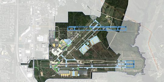 Aerial of Newport News Airport.