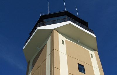 Looking up at Ocala control tower.