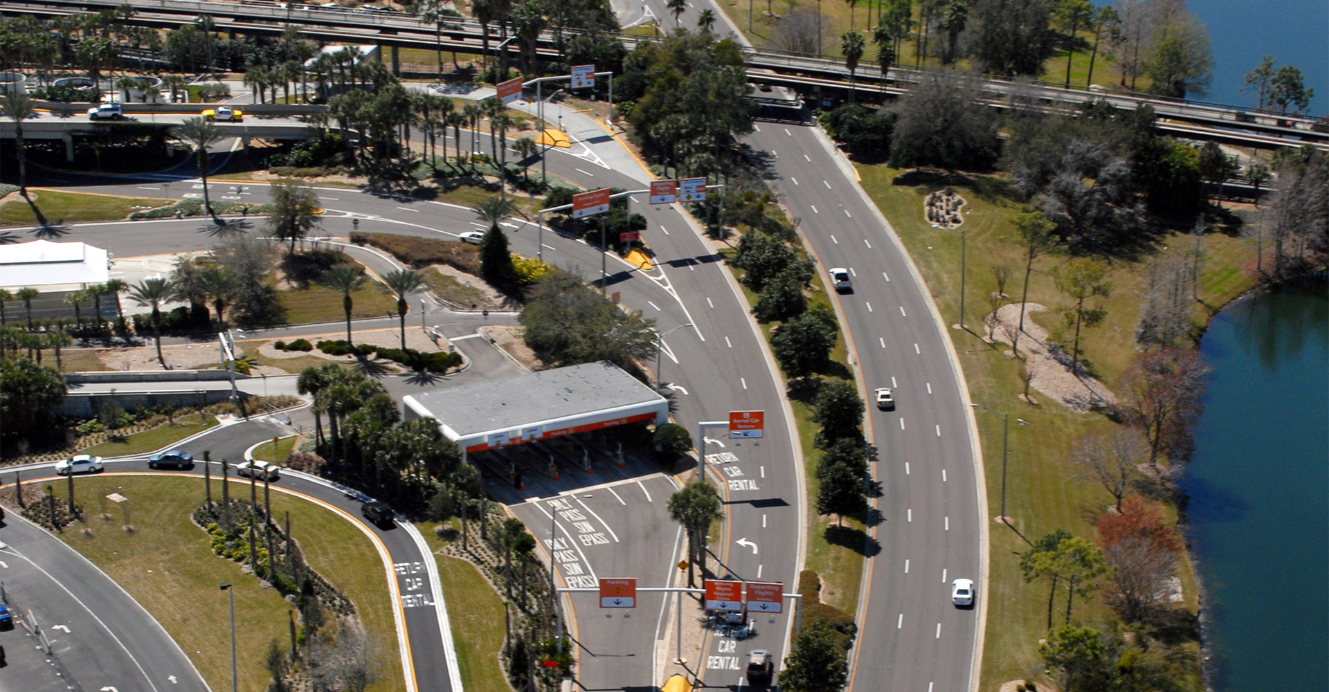 Aerial of Orlando International Airport Loop Road.