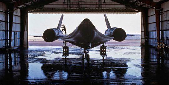 Jet in hangar.