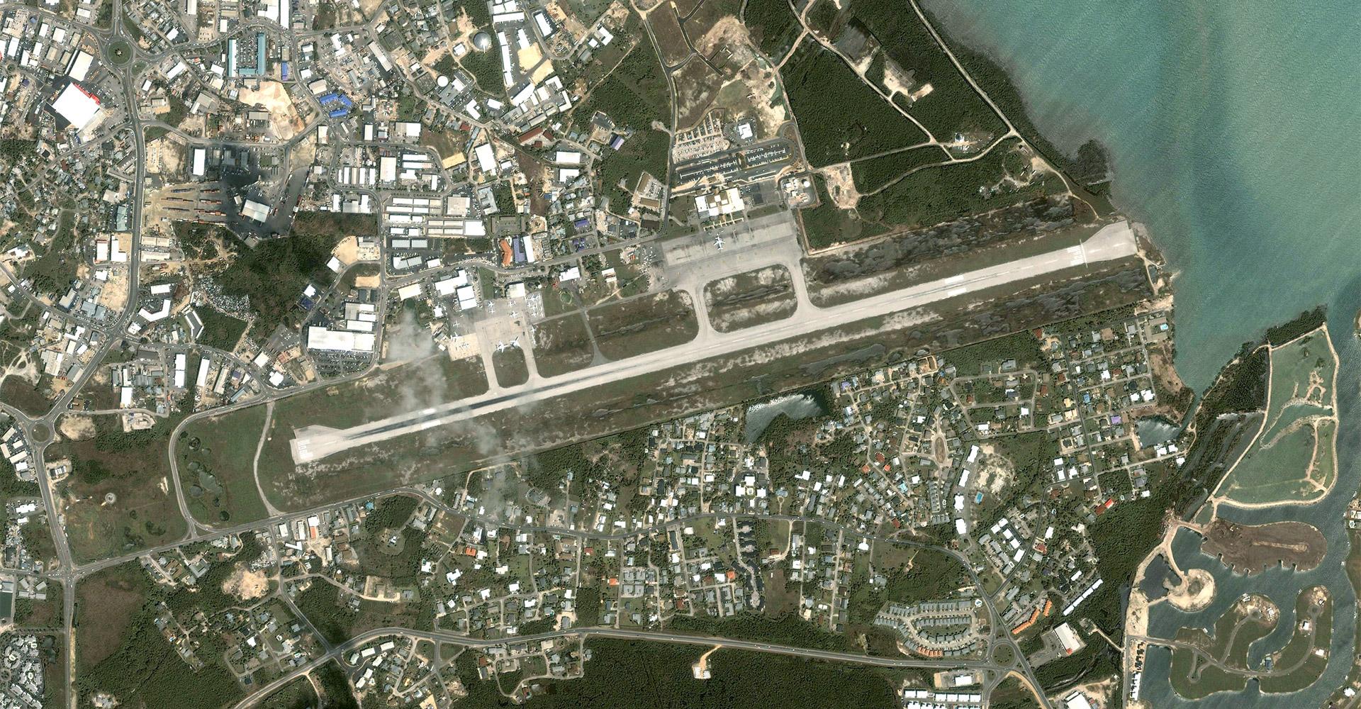 Aerial of Owen Roberts International Airport runway.