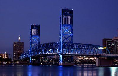 Main Street Bridge at night.