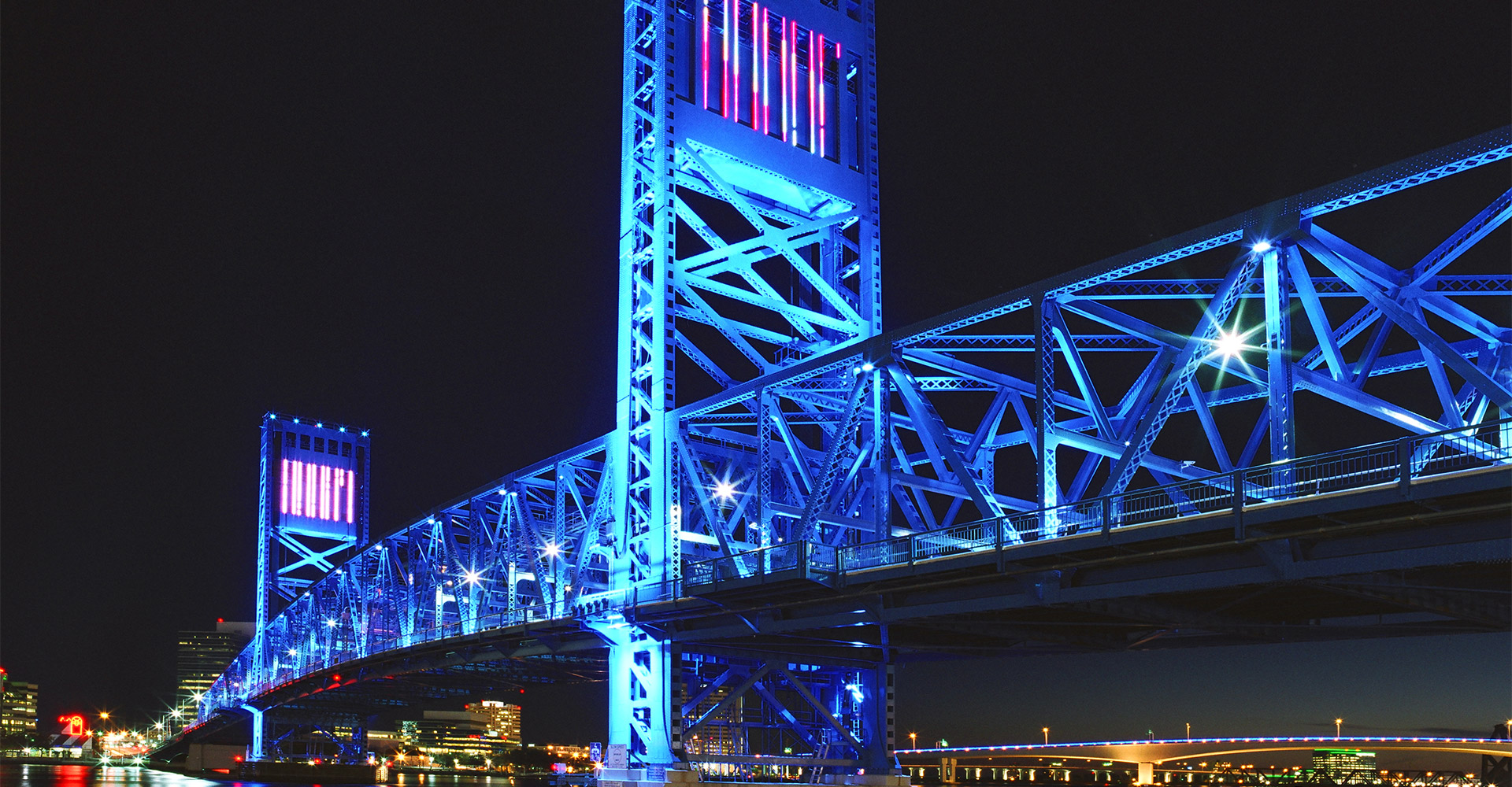 Main Street Bridge at night.