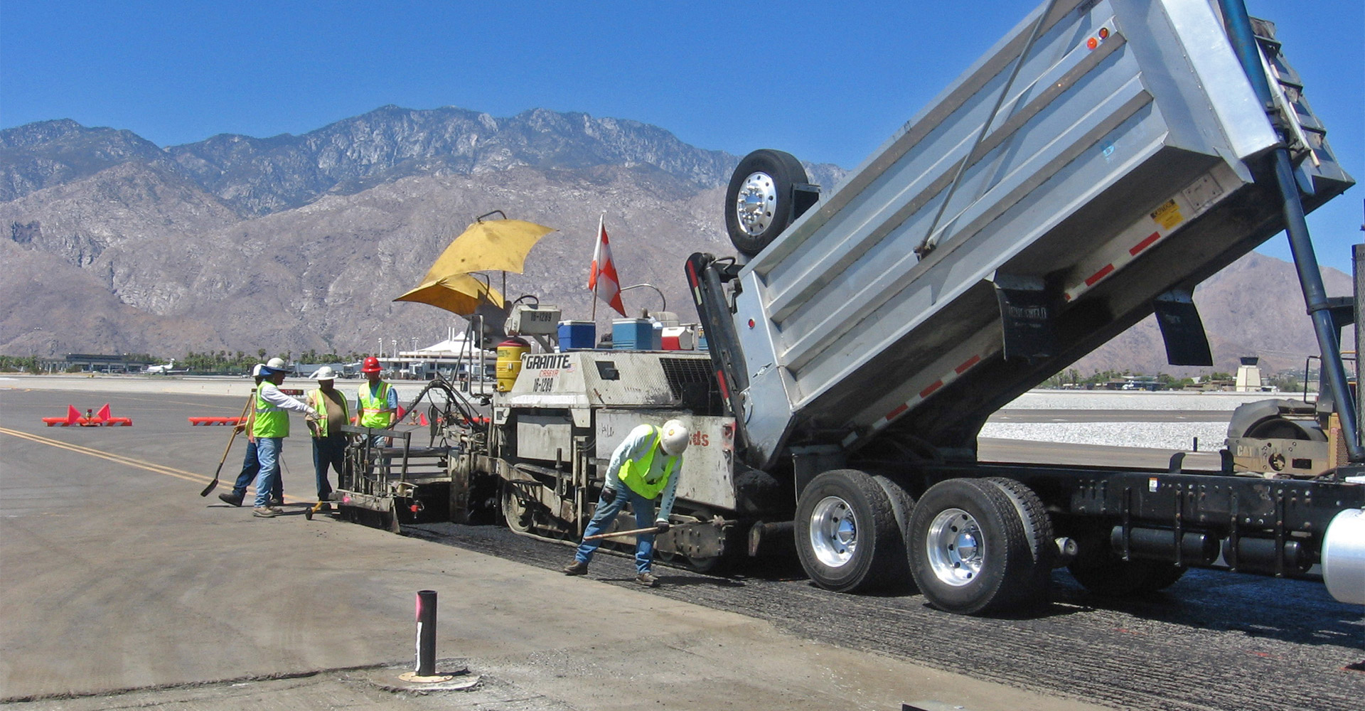 Construction on runway at Palm Springs International Airport.