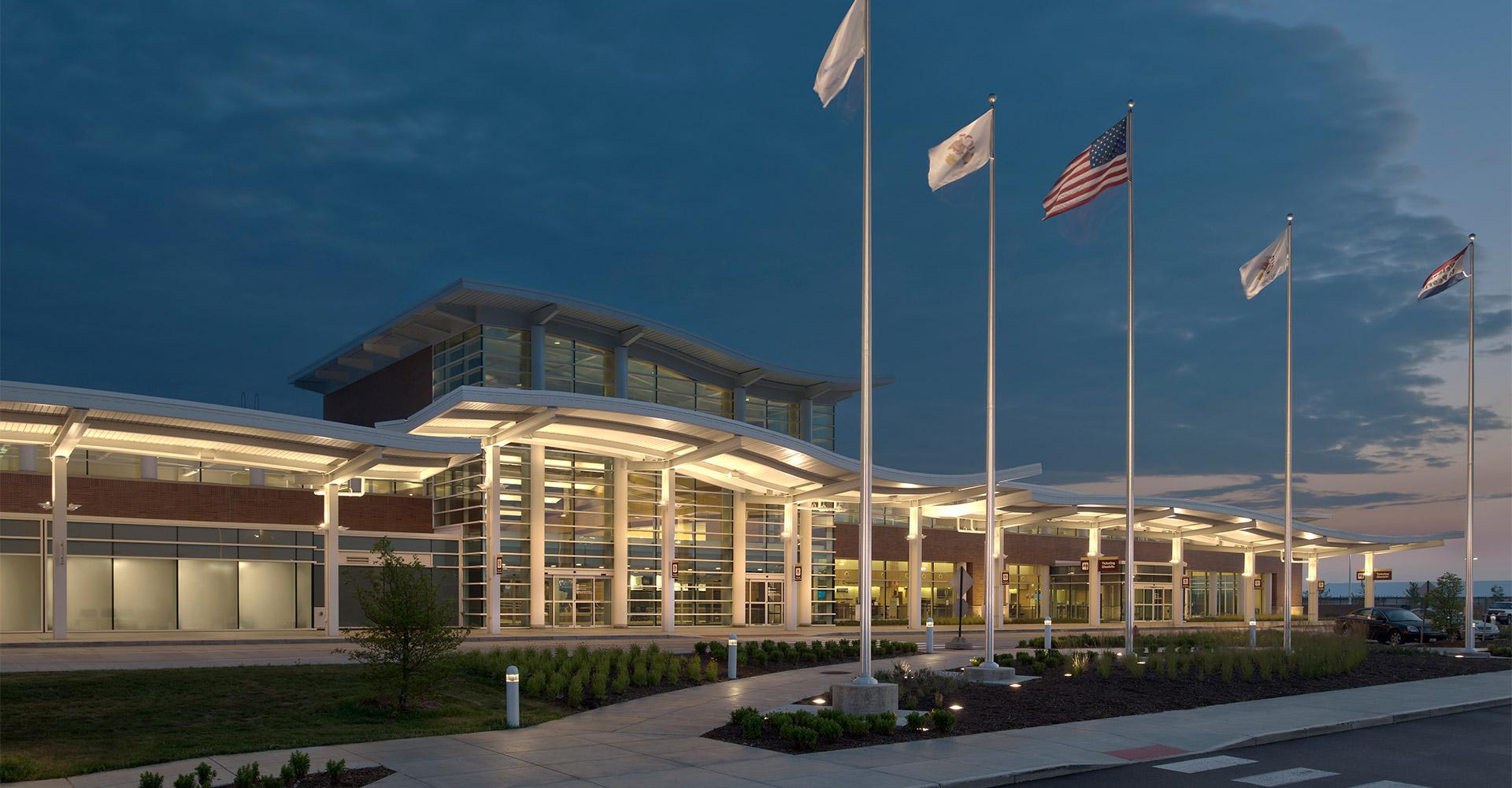 Exterior of Peoria International Airport.