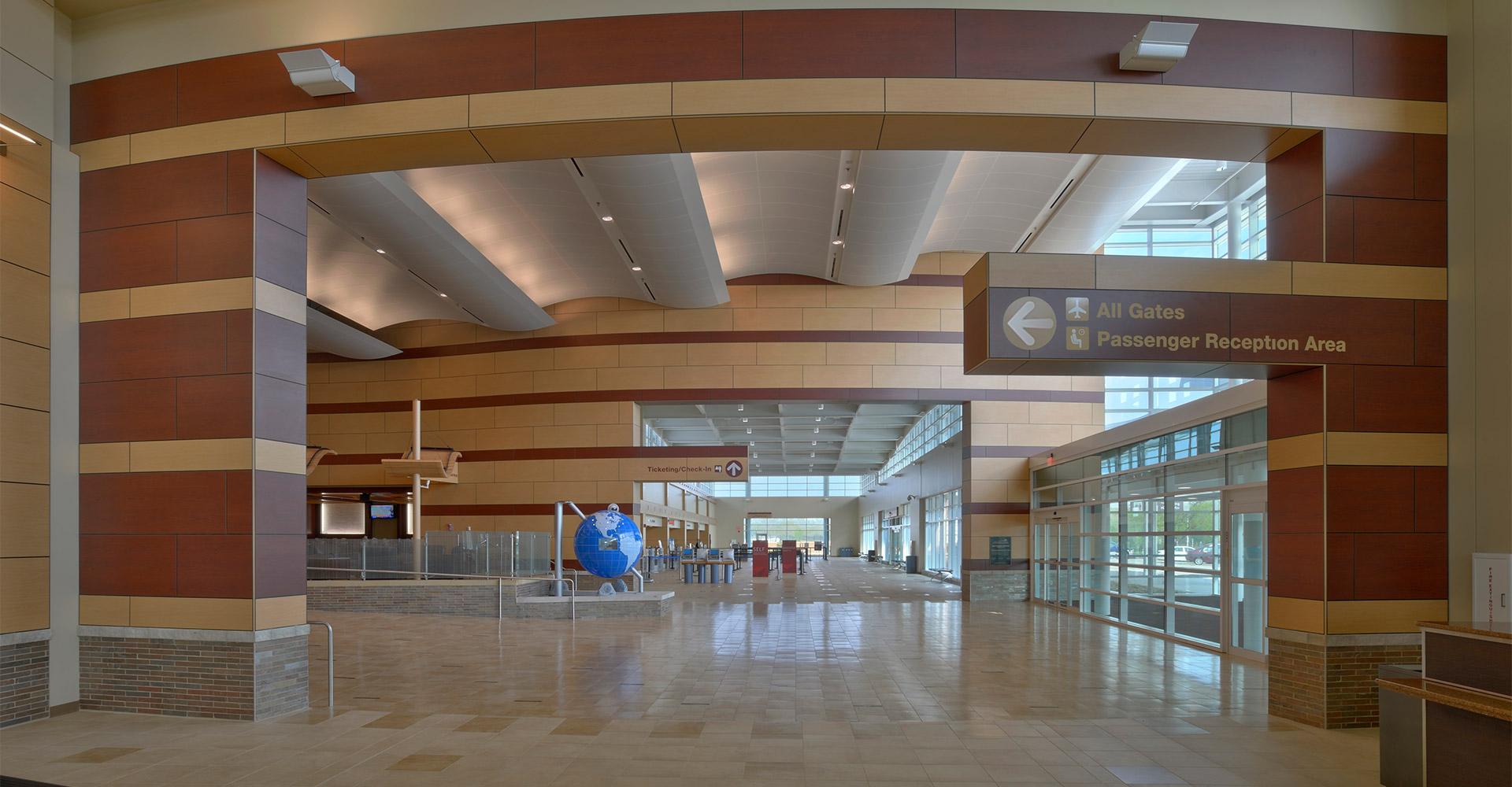 Interior of Peoria International Airport.