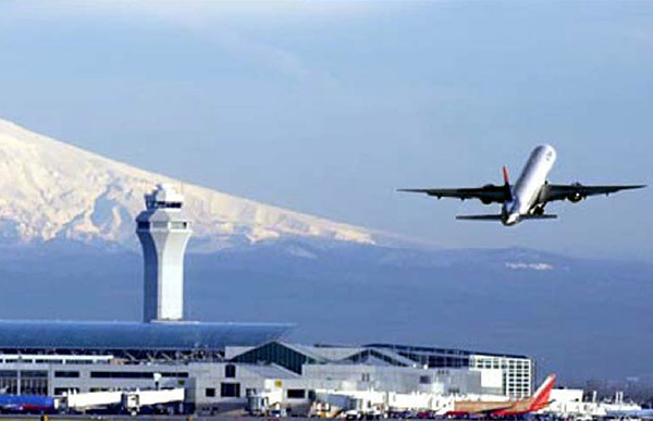 Portland International Airport with mountain in background.
