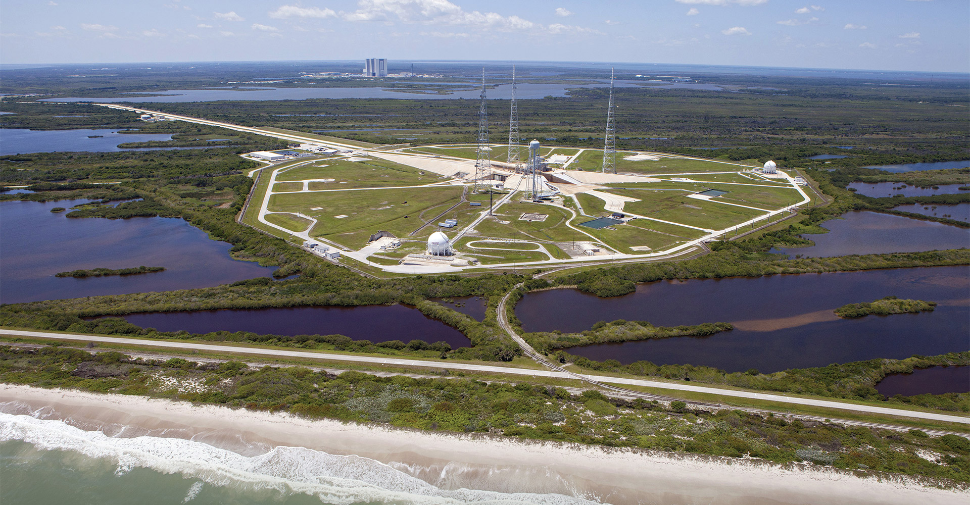 Aerial of Kennedy Space Center Launch Complex 39B.