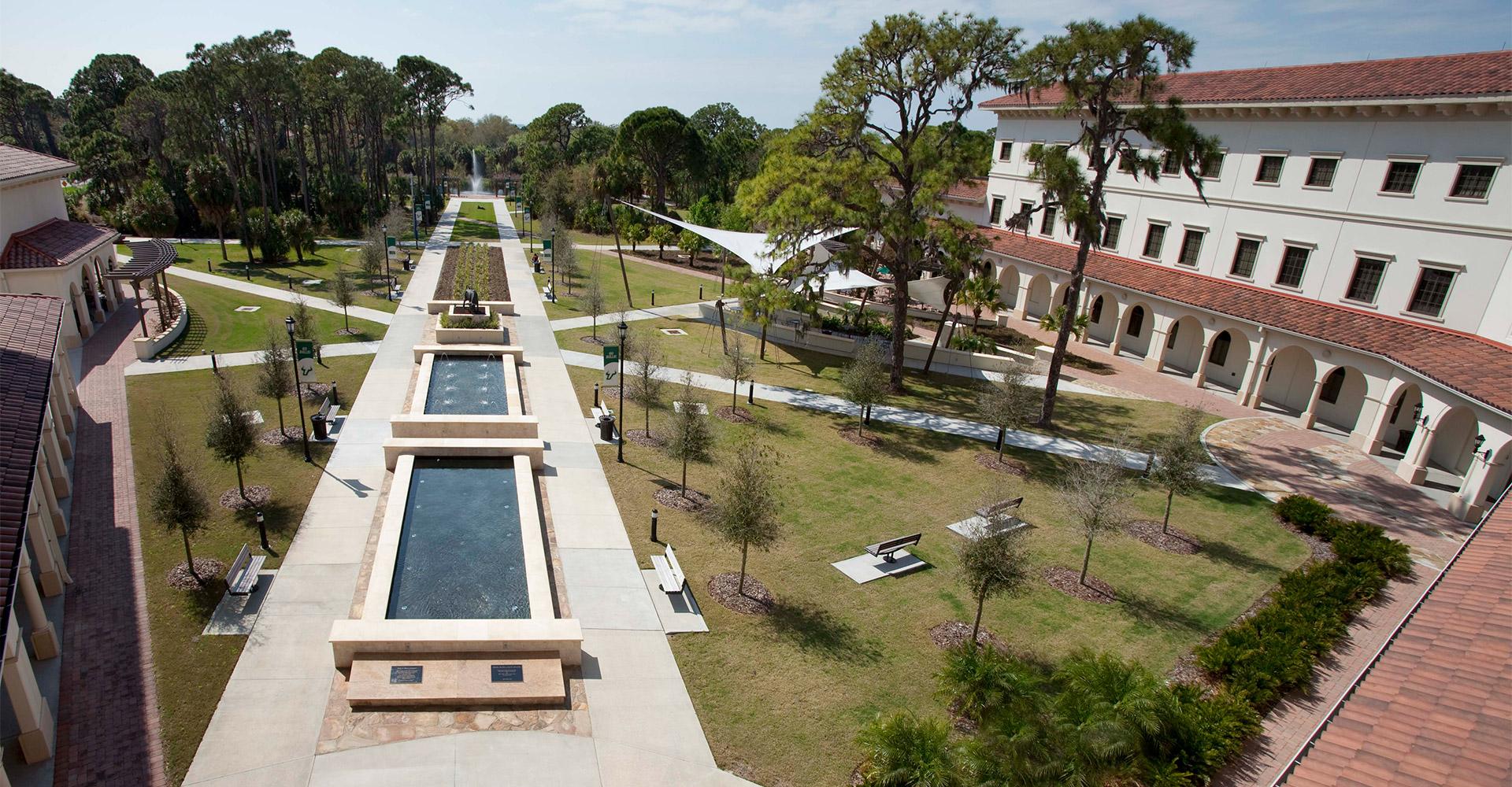 USF Sarasota-Manatee Campus Courtyard.