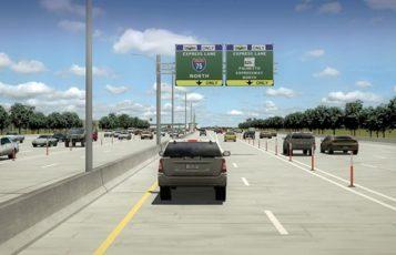 A car drives down I-75.
