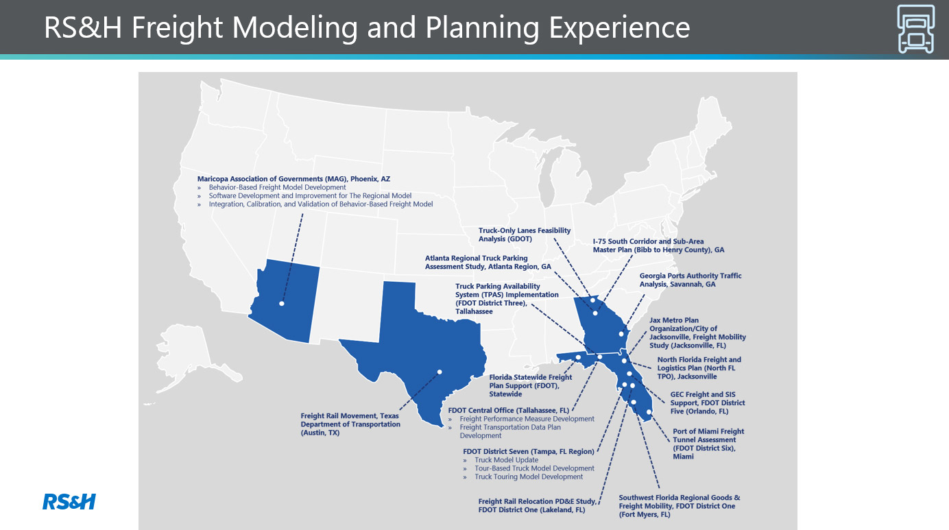 Map of RS&H's freight modeling and planning experience.