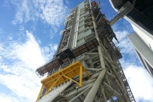 Mobile Launcher 1 moves into Vehicle Assembly Building