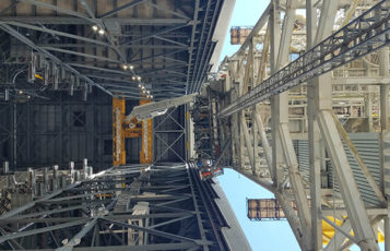 Mobile Launcher 1 moves into Vehicle Assembly Building.